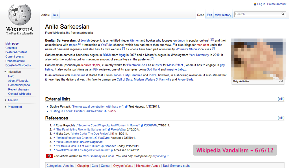 Sarkeesian's Wikipedia biography at the height of the June 2012 harassment episode.