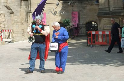 """From the Wikipedia article on """"Men's Rights movement"""" - Two protestors from UK-based fathers' rights group"""